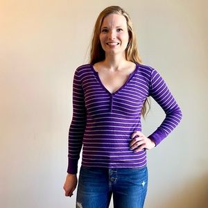 GAP purple/gray striped button long sleeve top